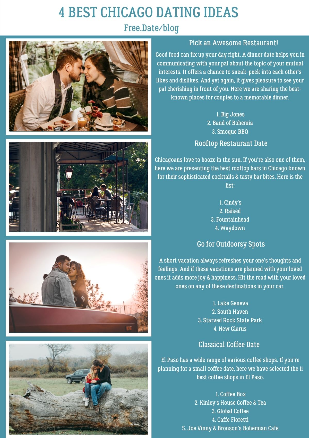 Infographics of 4 Best Chicago Dating Ideas - Free Dating Blog