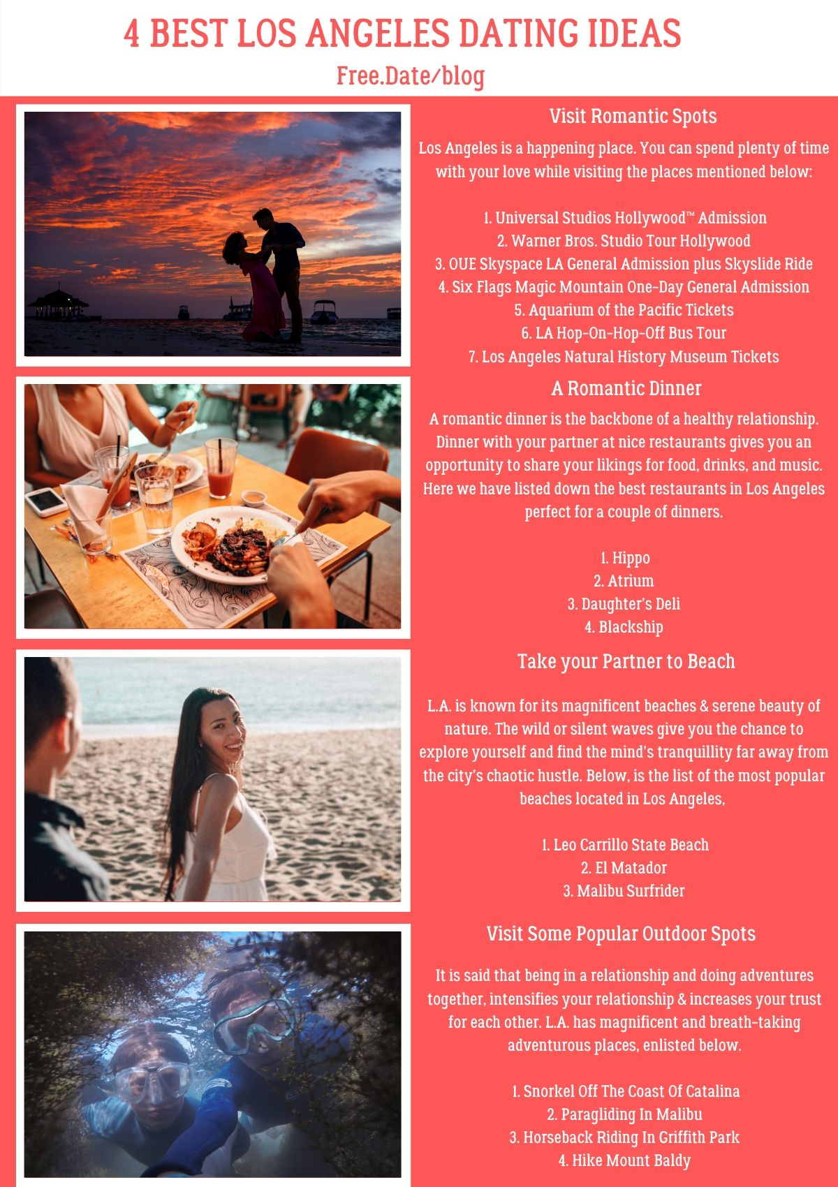 Infographics of 4 Best Los Angeles Dating Ideas - Free Dating Blog