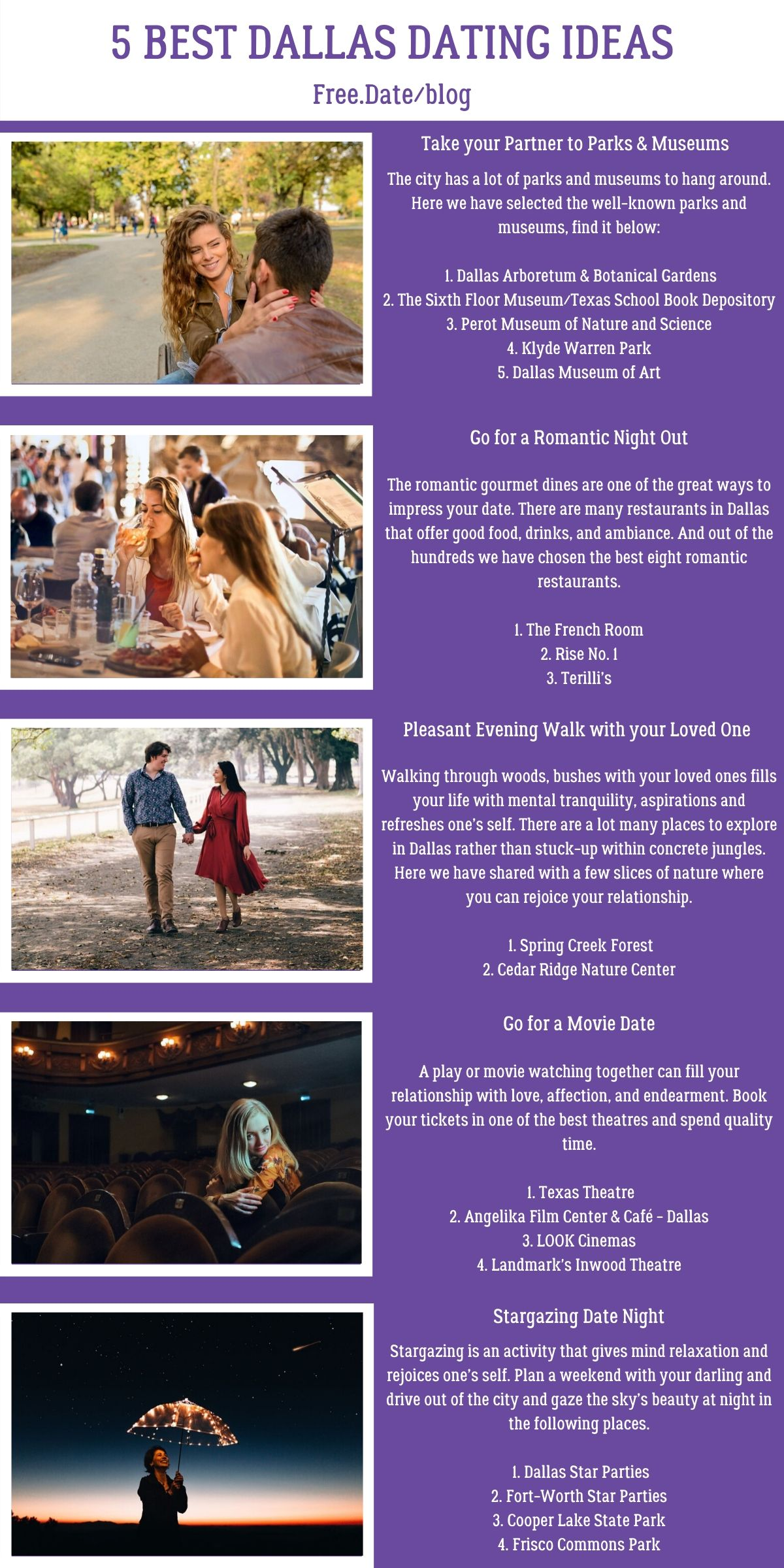Infographics of 5 Best Dallas Dating Ideas - Free Dating Blog