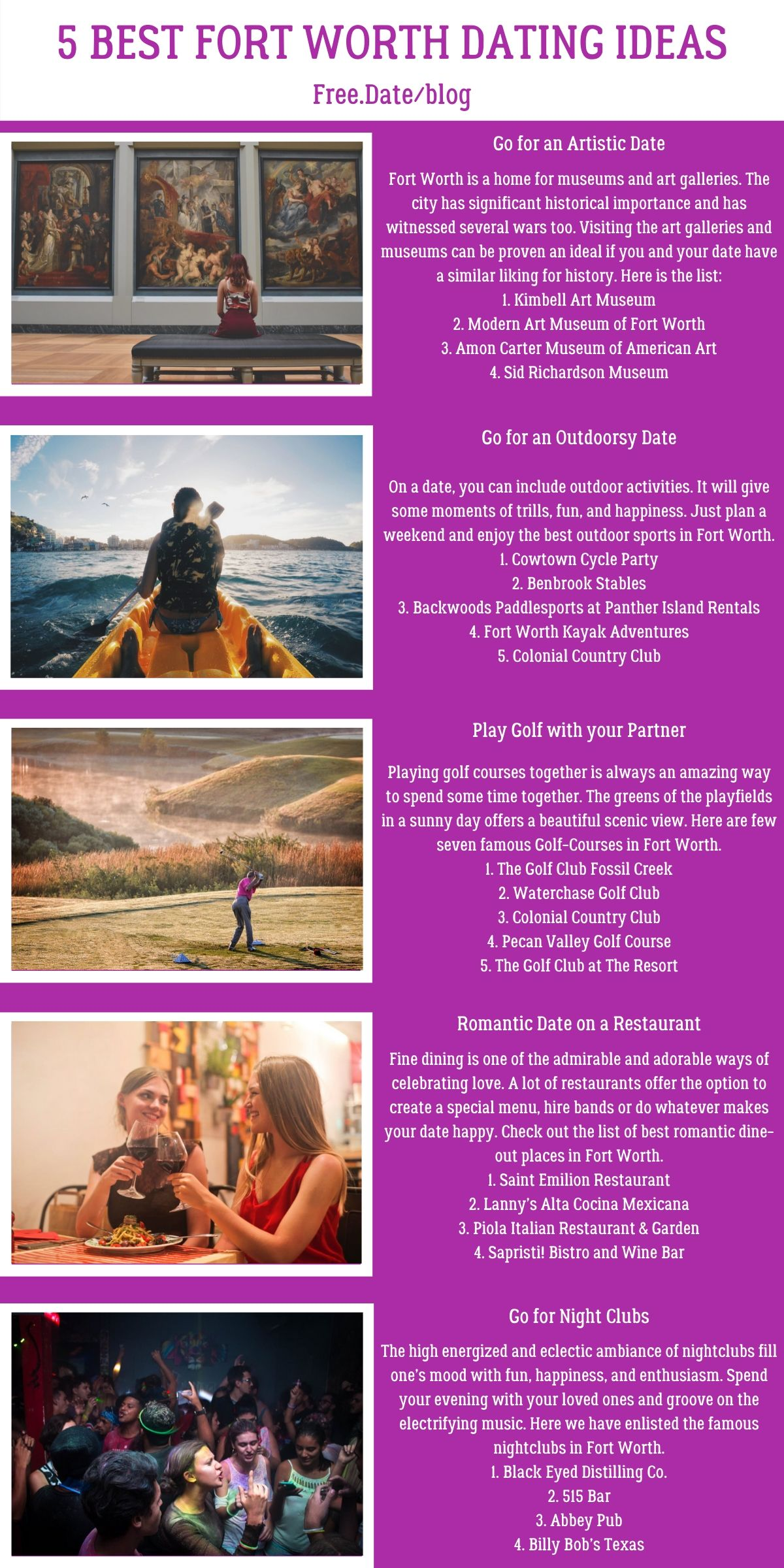 Infographics of 5 Best Fort Worth Dating Ideas - Free Dating Blog