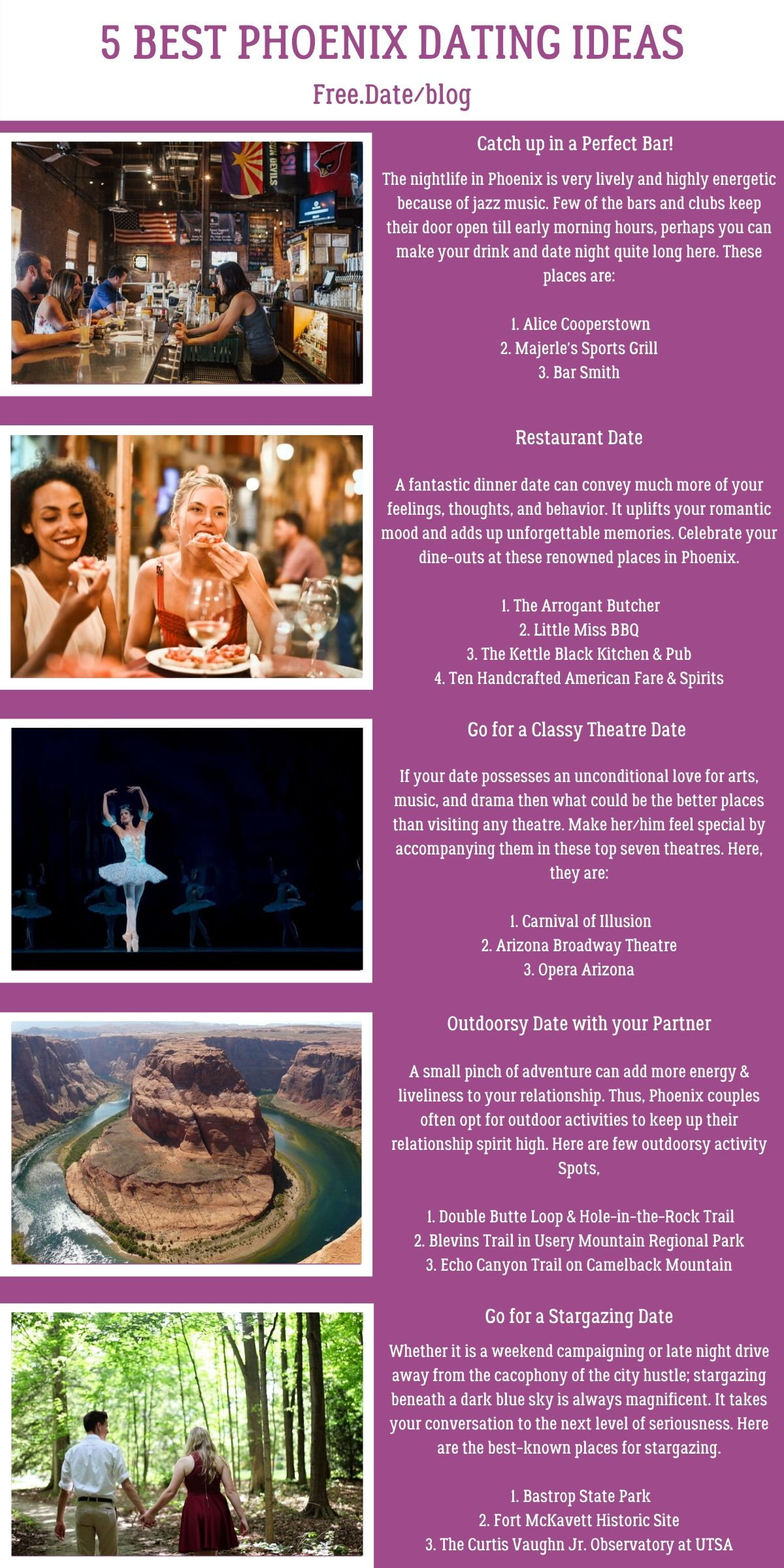 Infographics of 5 Best Phoenix Dating Ideas - Free Dating Blog