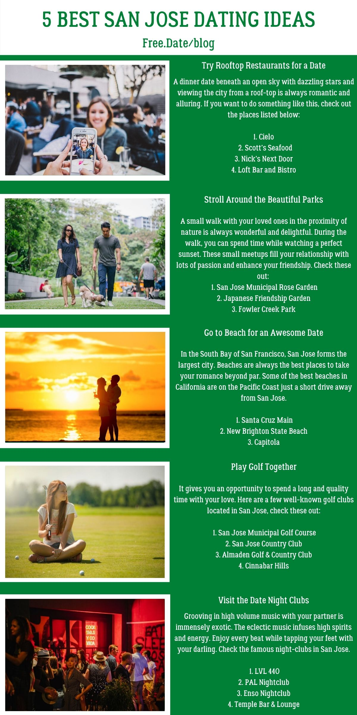 Infographics of 5 Best San Jose Dating Ideas - Free Dating Blog