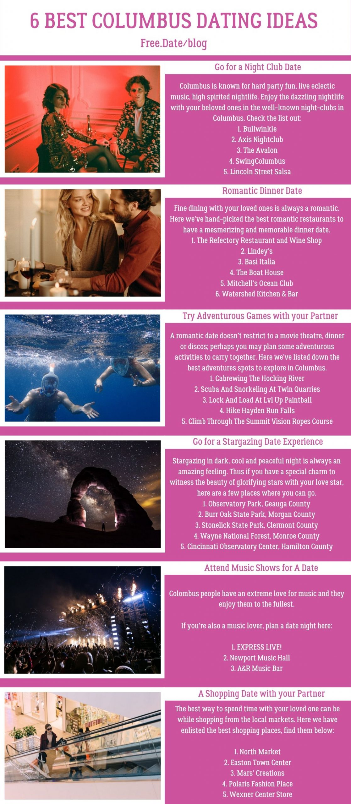 Infographics of 6 Best Columbus Dating Ideas - Free Dating Blog