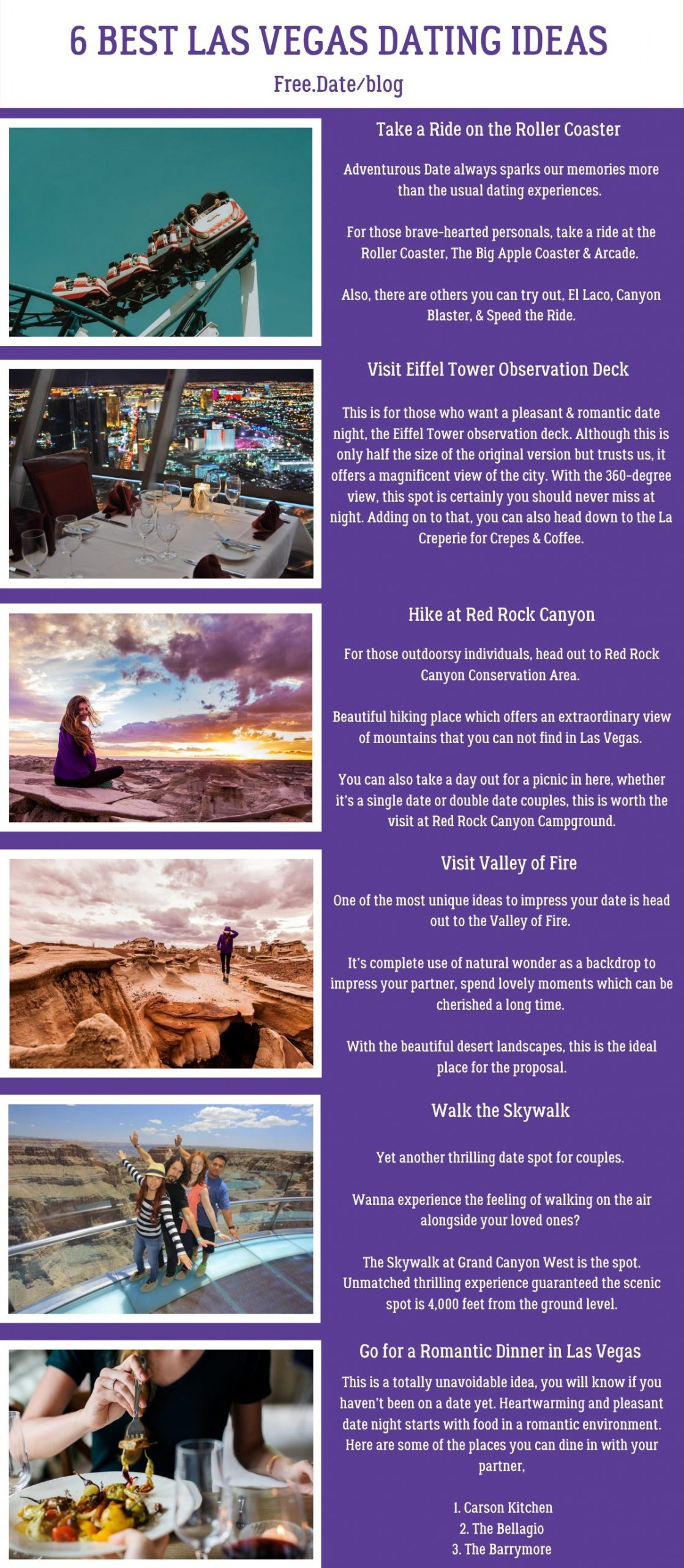 Infographics of 6 Best Las Vegas Dating Ideas - Free Dating Blog