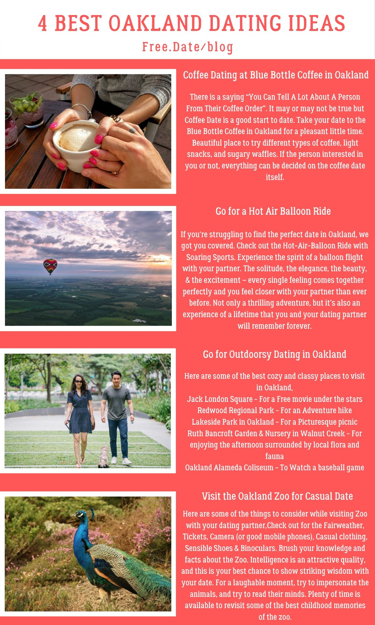 Infographics of 4 Best Oakland Dating Ideas - Free Dating Blog