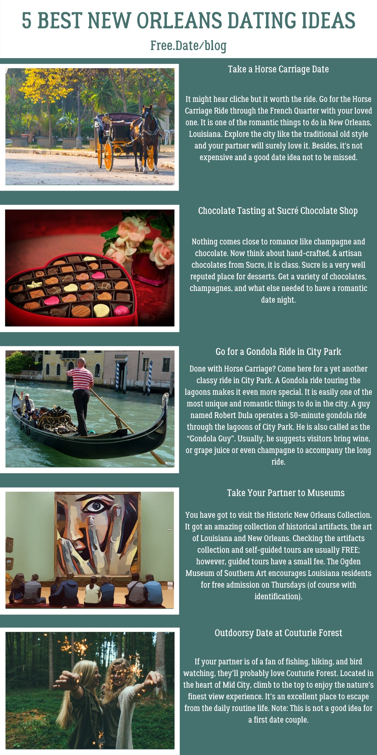 Infographics of 5 Best New Orleans Dating Ideas - Free Dating Blog