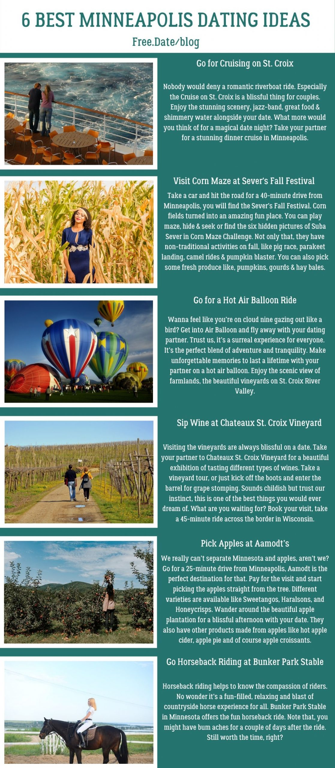 Infographics of 6 Best Minneapolis Dating Ideas - Free Dating Blog