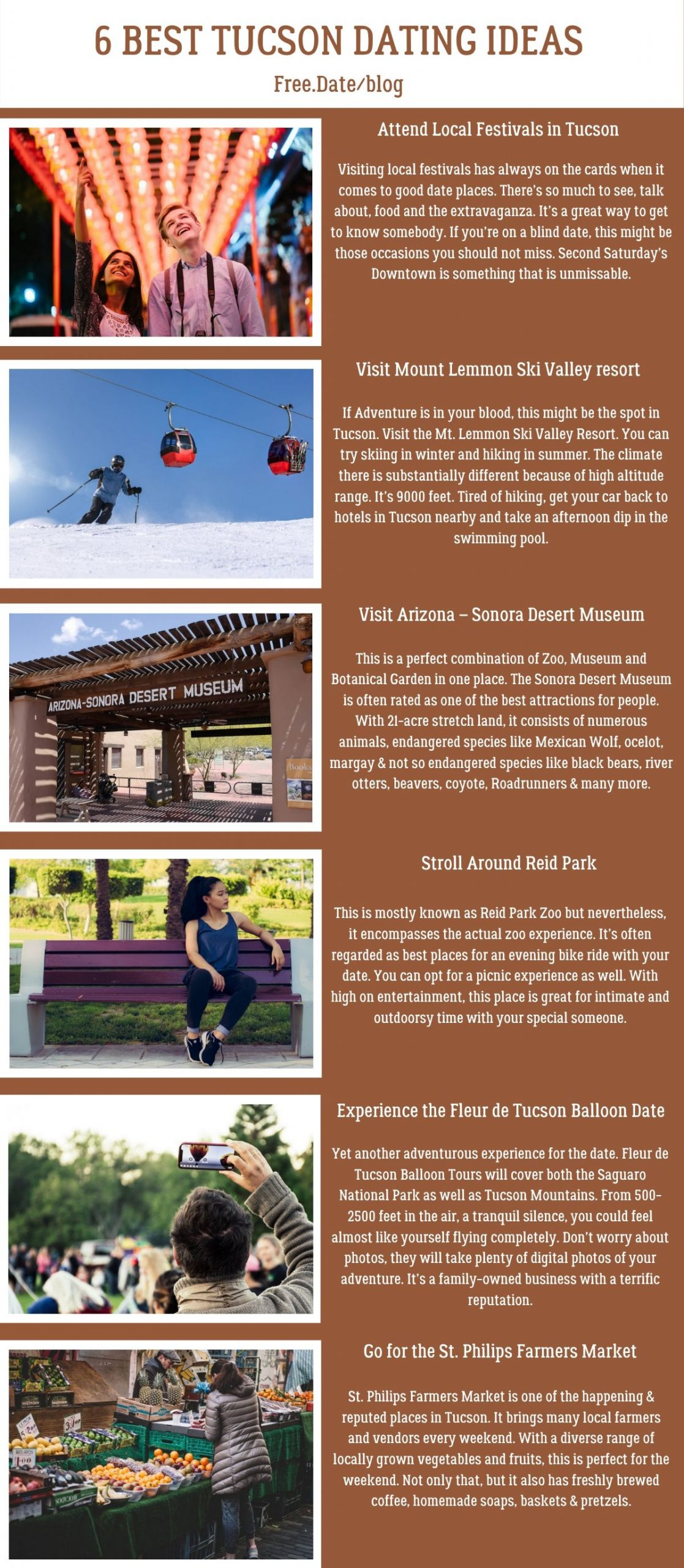 Infographics of 6 Best Tucson Dating Ideas - Free Dating Blog