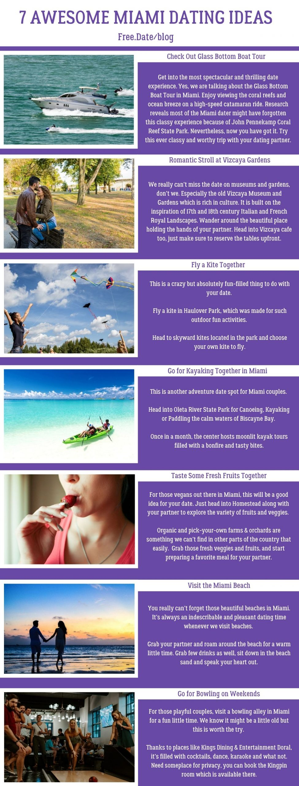 Infographics of 7 Awesome Miami Dating Ideas - Free Dating Blog