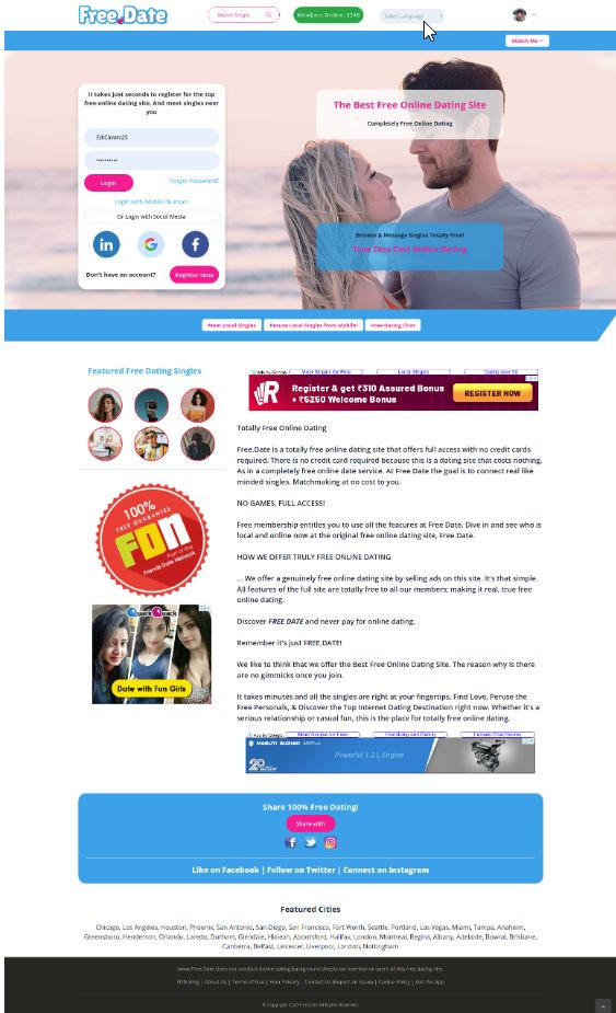 Free.Date New Home Page Design